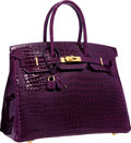 """Luxury Accessories:Bags, Hermes 35cm Shiny Cassis Porosus Crocodile Birkin Bag with Gold Hardware . Very Good to Excellent Condition . 14"""" Widt..."""