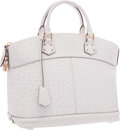 "Luxury Accessories:Bags, Louis Vuitton White Ostrich Lockit MM Bag . ExcellentCondition. 14"" Width x 11.5"" Height x 7"" Depth. CITEScomp..."