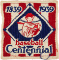 Baseball Collectibles:Others, 1939 Baseball Centennial Uniform Patch & Tie Bar....