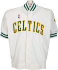 Basketball Collectibles:Uniforms, 1987 Kevin McHale Game Worn Boston Celtics Warm Up Jacket....