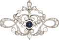 Estate Jewelry:Brooches - Pins, Edwardian Sapphire, Diamond, Platinum Brooch. ...