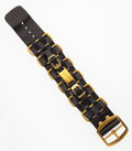 """Luxury Accessories:Accessories, Chanel Gold & Black Leather Bracelet. Very Good Condition. 1.5"""" Width x 9"""" Length. ..."""
