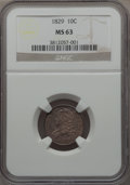 Bust Dimes, 1829 10C Small 10C, JR-6, R.3, MS63 NGC....