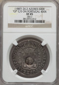 Azores, Azores: Portuguese Colony Counterstamped 600 Reis ND (1887) XF45 NGC,...