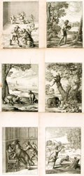 Books:Prints & Leaves, [Featured Lot]. [Wenceslaus Hollar]. Group of Eleven Folio Printsfrom Ogilby's Aesop. 1665-1668. Krown & Spel...