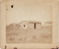 American Indian Art:Photographs, PHOTOGRAPH OF LOG CABIN AND SWEAT LODGE FRAME - CROW RESERVATION...