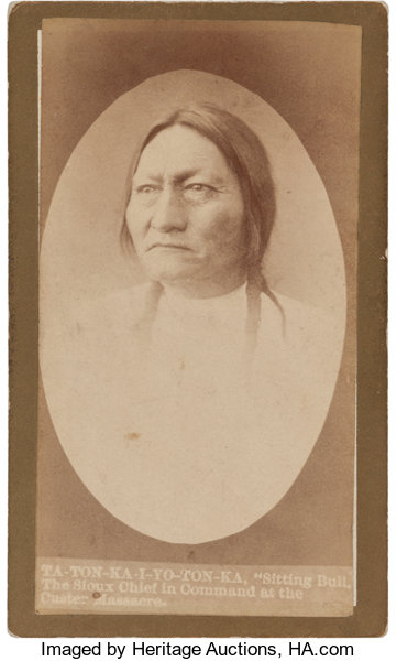 American Indian ArtPhotographs A RARE CARTE DE VISITE OF SITTING BULL