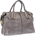 "Luxury Accessories:Bags, Tod's Silver Metallic Python Medium D-Styling Bag . ExcellentCondition . 16"" Width x 10"" Height x 7"" Depth .CI..."