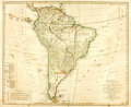 Books:Maps & Atlases, [Maps]. [South America]. L. Delarochette, cartographer. Bowles's New Pocket Map of South America Divided into its Provin...