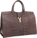 """Luxury Accessories:Bags, Yves Saint Laurent Matte Gray Alligator Cabas ChYc Bag. Excellent to Pristine Condition. 15"""" Width x 10"""" Height x 8"""" D..."""