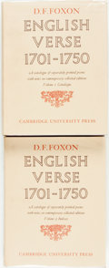 Books:Reference & Bibliography, D. F. Foxon. English Verse, 1701-1750. Cambridge UniversityPress, [1975]. Two volumes: Catalogue [and:] Index...(Total: 2 Items)