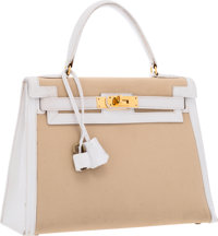 Hermes 28cm White Gulliver Leather & Canvas Sellier Kelly Bag with Gold Hardware Good Condition 1