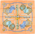 """Luxury Accessories:Accessories, Hermes 90cm Orange & Blue """"Selles a Housse,"""" by ChristianeVauzelles Silk Scarf. Good to Very Good Condition. 36""""Widt..."""