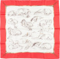 """Luxury Accessories:Accessories, Hermes 90cm Red & White """"Les Levriers,"""" by Xavier de Poret Silk Scarf. Very Good to Excellent Condition. 36"""" Width x 3..."""
