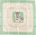 "Luxury Accessories:Accessories, Hermes 90cm Green & Beige ""Tigre Royal,"" by ChristianeVauzelles Silk Scarf. Very Good Condition. 36"" Width x36"" Leng..."