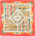 "Luxury Accessories:Accessories, Hermes 90cm Red & White ""A la Gloire de Guillaume,"" by LoïcDubigeon Silk Scarf. Very Good to Excellent Condition.36""..."