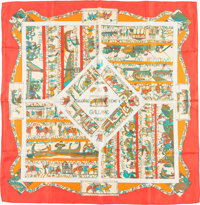 "Hermes 90cm Red & White ""A la Gloire de Guillaume,"" by Loïc Dubigeon Silk Scarf Very Good to Excellen..."