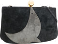 "Luxury Accessories:Bags, Hermes Black & Gray Veau Doblis Suede Sac a Malice Bag withGold Hardware . Very Good to Excellent Condition . 9""Widt..."