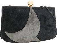 Hermes Black & Gray Veau Doblis Suede Sac a Malice Bag with Gold Hardware Very Good to Excellent Condition