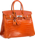 "Luxury Accessories:Bags, Hermes 25cm Shiny Orange H Nilo Crocodile Birkin Bag with PalladiumHardware. Very Good Condition . 9.5"" Width x 8"" He..."