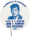 Political:Pinback Buttons (1896-present), John F. Kennedy: The Companion Pieces to the Adjacent 1956 Convention Button....