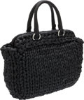 "Luxury Accessories:Bags, Prada Black Leather Braided Shoulder Bag . PristineCondition. 13"" Width x 10"" Height x 5"" Depth. ..."