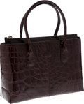 """Luxury Accessories:Bags, Tod's Shiny Brown Alligator Classic D Bag. ExcellentCondition. 13"""" Width x 8.5"""" Height x 4"""" Depth. CITEScompli..."""