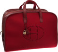 "Luxury Accessories:Travel/Trunks, Hermes 50cm Rouge H Gulliver Leather & Wool Evelyne Travel Bag.Very Good Condition. 20"" Width x 12"" Height x 9""Depth..."