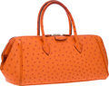 "Luxury Accessories:Bags, Hermes 27cm Tangerine Ostrich Paris Bombay Bag with Palladium Hardware. Good to Very Good Condition. 11"" Width x 5"" He..."