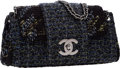 "Luxury Accessories:Bags, Chanel Black, Green & Blue Tweed Medium Flap Bag with GunmetalHardware . Excellent Condition . 10"" Width x 6"" Height..."