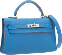 Hermes 15cm Mykonos Epsom Leather Micro Kelly Bag with Palladium Hardware Very Good to Excellent <