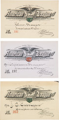 Baseball Collectibles:Tickets, 1919-27 American League Annual Passes Lot of 3....