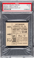 Baseball Collectibles:Tickets, 1972 Roberto Clemente's 3,000 Hit & Last Game Ticket Stub, PSAVG 3. ...