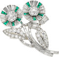 Estate Jewelry:Brooches - Pins, Diamond, Emerald, Platinum Brooch, Tiffany & Co.. ...