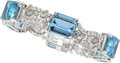 Estate Jewelry:Bracelets, Aquamarine, Diamond, Platinum Bracelet, circa 1950. ...