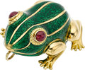 Estate Jewelry:Pendants and Lockets, Ruby, Enamel, Gold Pendant, David Webb. ...