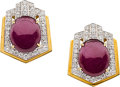Estate Jewelry:Earrings, Ruby, Diamond, Gold Earrings, David Webb. ...