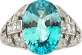 Estate Jewelry:Rings, Art Deco Zircon, Diamond, Platinum Ring. ...