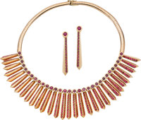 Ruby, Gold Jewelry Suite