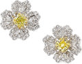 Estate Jewelry:Earrings, Colored Diamond, Diamond, White Gold Earrings, Piranesi. ...