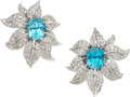 Estate Jewelry:Earrings, Blue Zircon, Diamond, Platinum, White Gold Earrings. ...
