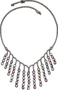 Estate Jewelry:Necklaces, Multi-Color Sapphire, Diamond, Gold Necklace. ...