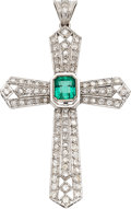 Estate Jewelry:Pendants and Lockets, Emerald, Diamond, White Gold Pendant. ...