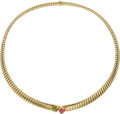 Estate Jewelry:Necklaces, Peridot, Pink Tourmaline, Gold Necklace, Bvlgari. ...
