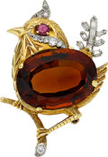 Estate Jewelry:Brooches - Pins, Citrine, Diamond, Ruby, Platinum, Gold Brooch. ...