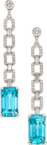 Estate Jewelry:Earrings, Blue Zircon, Diamond, White Gold Earrings. ...