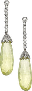 Estate Jewelry:Earrings, Yellow Sapphire, Diamond, White Gold Earrings. ...