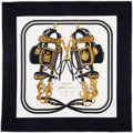 "Luxury Accessories:Accessories, Hermes 90cm Black & White ""Brides de Gala,"" by Hugo GrygkarSilk Scarf . Very Good Condition . 36"" Width x 36"" Length..."