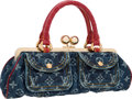 "Luxury Accessories:Bags, Louis Vuitton Red Alligator & Blue Monogram Denim Fermoir GMBag. Very Good to Excellent Condition . 11"" Width x 6""He..."