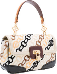 Louis Vuitton Black & Cream Velvet and Leather Charms Rabat Pochette Bag Very Good to Excellent Condition